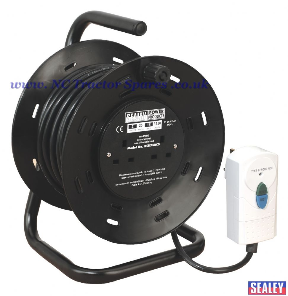 Cable Reel 25mtr with RCD Plug 2 x 230V